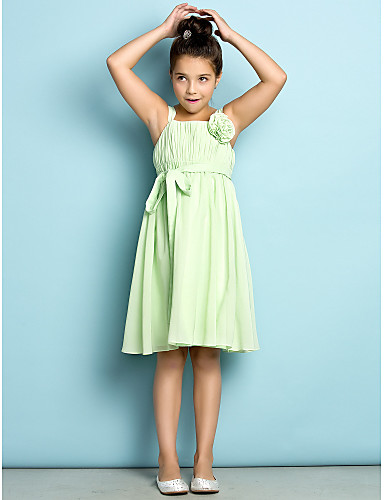 A-Line Straps Knee Length Chiffon Junior Bridesmaid Dress with Draping Flower by LAN TING BRIDE®