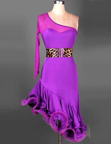 Latin Dance Outfits Women's Training Performance Spandex Chinlon Ruched Long Sleeves Dress Waist Belt