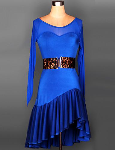 Λάτιν Χοροί Φορέματα Γυναικεία Εκπαίδευση   Επίδοση Spandex Που καλύπτει    Ζωνάρια   Κορδέλες Μακρυμάνικο Φόρεμα 73fd801dc67