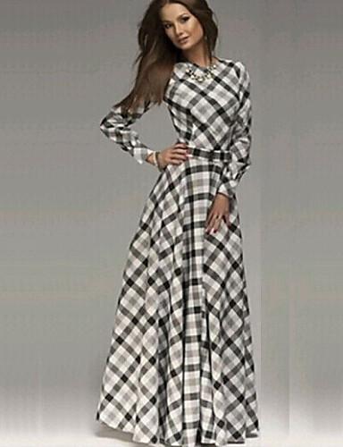 8a8b313b6d0 Γυναικεία Εκλεπτυσμένο Βαμβάκι Θήκη / Swing Φόρεμα - Τετράγωνο Καρό Μακρύ