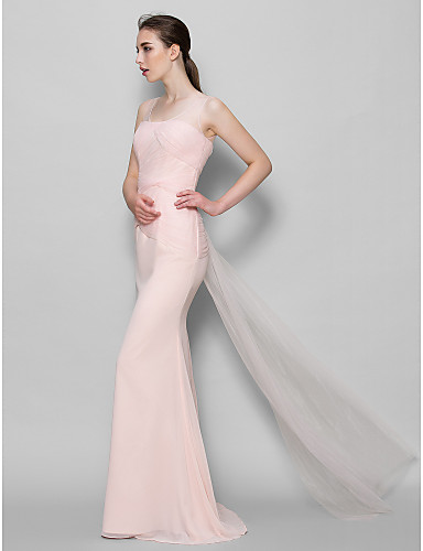 Sheath / Column Scoop Neck Floor Length Chiffon Tulle Bridesmaid Dress with Criss Cross by LAN TING BRIDE®