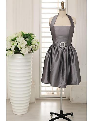 A-vonalú Pánt Térdig érő Taft Koszorúslány ruha val vel Pántlika / szalag által