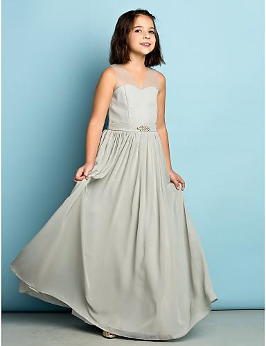 A-Şekilli V Yaka Yere Kadar Şifon Kristal Detaylar ile Çocuk Nedime Elbisesi tarafından LAN TING BRIDE® / Doğal / Mini Me
