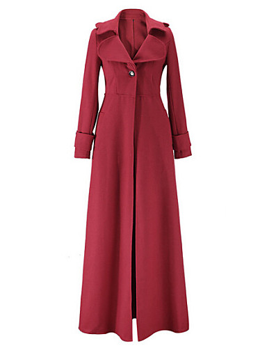 Damen Solide Trenchcoat,Winter Ständer Langarm Blau / Rot / Schwarz / Grün Mittel Wolle / Andere