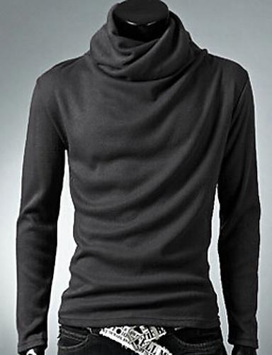 Herren Standard Pullover-Lässig/Alltäglich Solide Langarm Baumwolle Polyester