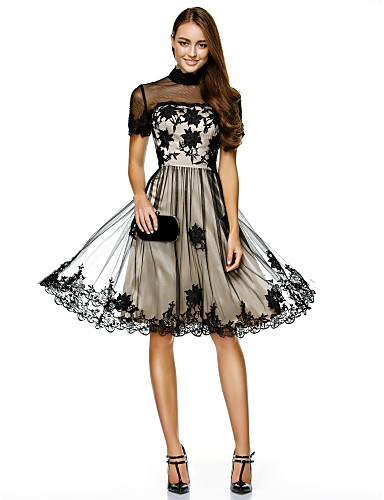 e077d7c8e A-Line Illusion Neck Knee Length Lace Over Tulle See Through Cocktail Party  Dress with