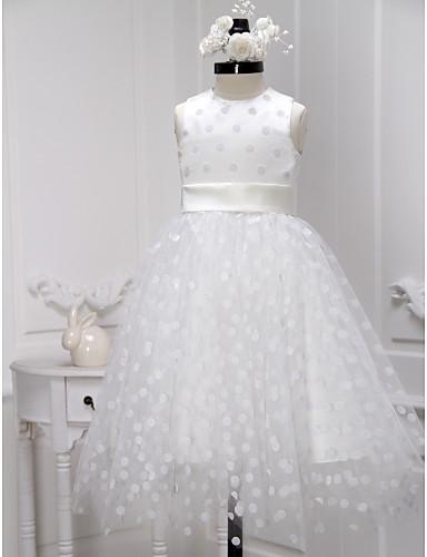 A-Şekilli Taşlı Yaka Diz Boyu Tül Kurdeleler ile Çiçekçi Kız Elbisesi tarafından LAN TING BRIDE®