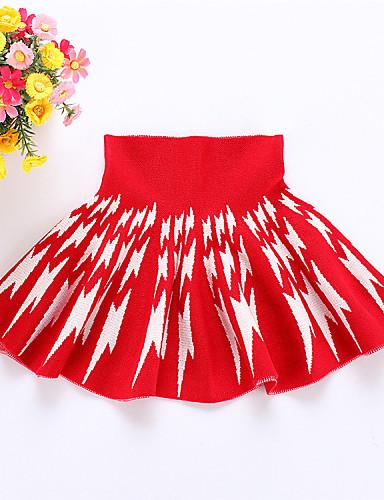 Menina de Vestido,Casual Estampado Lã Inverno / Primavera / Outono Preto / Vermelho