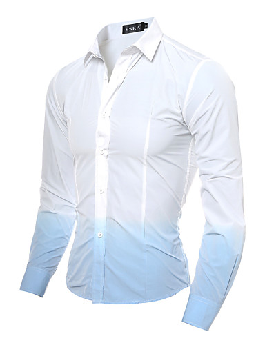 Pánské - Jednobarevné Čínské vzory Košile Bavlna Klasický límeček