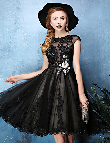 A-Line Illusion Neckline Knee Length Lace Tulle Cocktail Party / Prom Dress with Beading Lace Flower by Huaxirenjiao