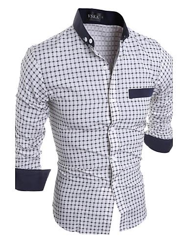 Homens Camisa Social Listrado Colarinho Clássico