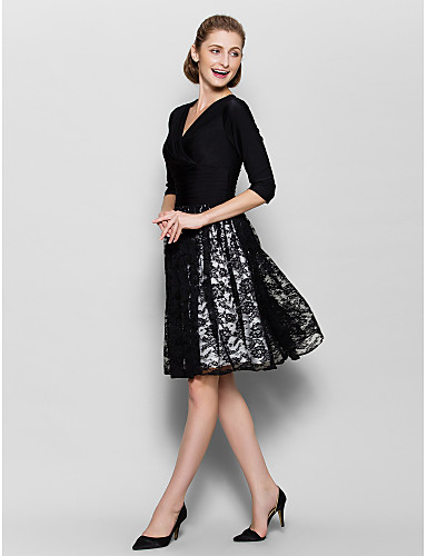 A-Line V Neck Knee Length Lace / Jersey Mother of the Bride Dress with Criss Cross / Ruched by LAN TING BRIDE®