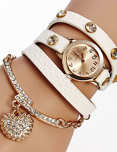 Kadın's Bilezik Saat Moda Saat Quartz Büyük indirim PU Bant Işıltılı Heart Shape Bohem Siyah Beyaz Kırmızı Kahverengi Gri Haki