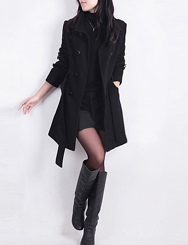 Women's Going out Basic Plus Size Coat - Solid Colored Stand