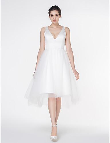 A-Linie V-Ausschnitt Asymmetrisch Satin / Tüll Maßgeschneiderte Brautkleider mit Drapiert durch LAN TING BRIDE® / Schlichte Brautkleider