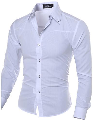 hesapli Erkek Gömlekleri-Erkek Forma Yaka İnce - Gömlek Temel, Solid İş Çalışma Büyük Bedenler Koyu Mavi / Uzun Kollu / Bahar / Sonbahar