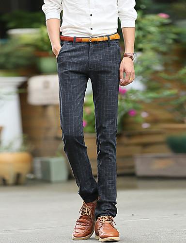 Erkek Günlük Normal Bel Esnemez İnce Chinos İş Pantolon, Pamuklu Solid Tüm Mevsimler