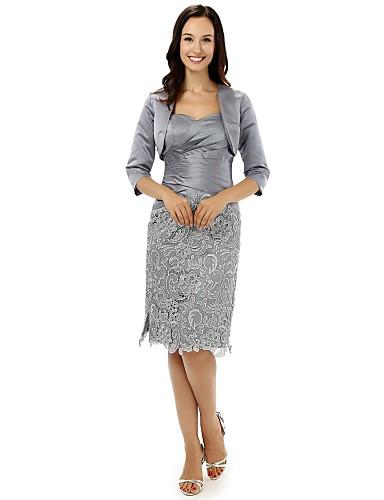 Tubinho Decote V Até os Joelhos Renda Cetim Vestido Para Mãe dos Noivos - Renda de VIVIANS BRIDAL