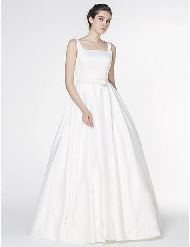 A-Line Square Neck Court Train Satin Wedding Dress with Bow by LAN TING BRIDE®