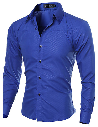cheap Men's Plus Sizes-Men's Work Business Plus Size Cotton Slim Shirt - Solid Colored Basic Spread Collar / Long Sleeve / Spring / Fall