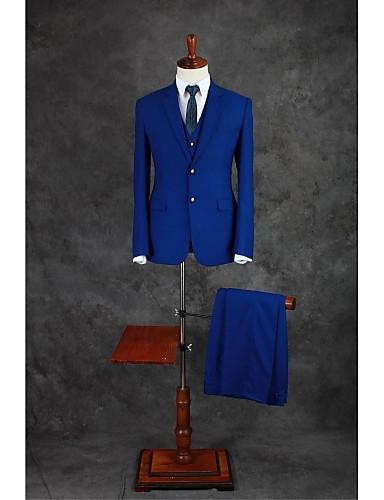 abordables Smokings & Costumes-Bleu royal Couleur Pleine Coupe Sur-Mesure Mélange de Coton Costume - Cranté Droit 2 boutons / costumes