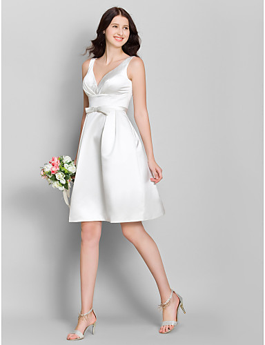 A-Line V Neck Knee Length Satin Bridesmaid Dress with Bow(s) by LAN TING BRIDE®