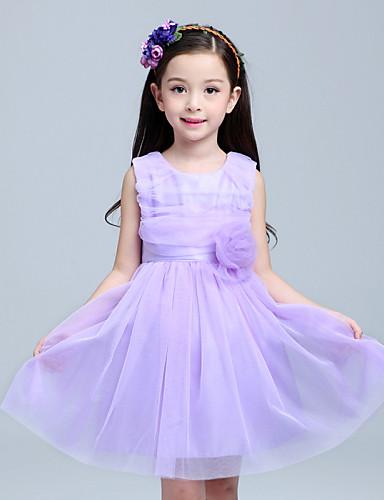 Vestido de menina de flor de joelho com uma linha - Vestido de cetim com tul sem mangas com flor