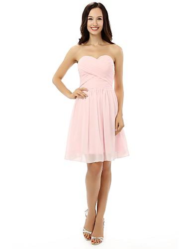 A-Line Sweetheart Knee Length Chiffon Bridesmaid Dress with Bandage by VIVIANS BRIDAL