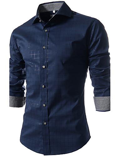 Men's Weekend Business Plus Size Cotton Slim Shirt - Plaid