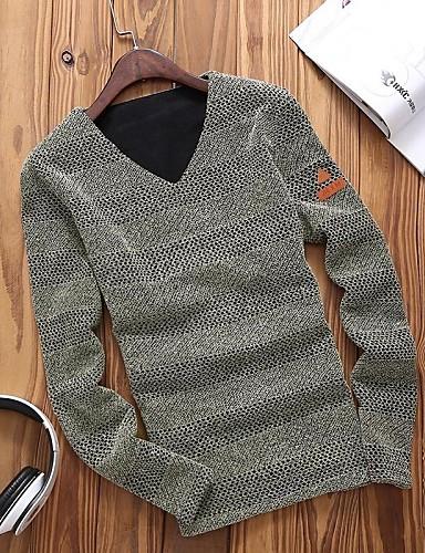Masculino Camiseta Algodão Cor Solida Manga Comprida Casual / Tamanhos Grandes-Preto / Azul / Vermelho / Bege / Cinza