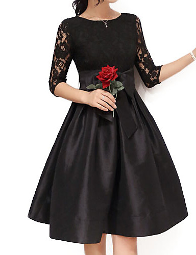 Women's Going out Sophisticated Plus Size Skater Above Knee Dress, Solid Bow Round Neck Half Sleeves High Rise