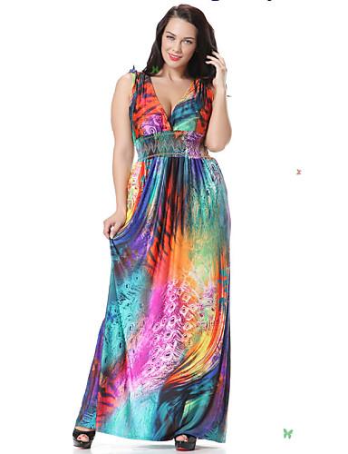 Beach Plus Size Skater Dress,Floral Deep V Maxi Sleeveless Spandex Spring Mid Rise Micro-elastic