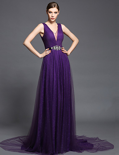 Ball Gown Plunging Neckline Court Train Chiffon Tulle Charmeuse Formal Evening Dress with Crystal Detailing Sash / Ribbon Side Draping