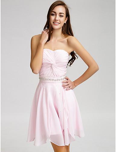 e5bb649d884 Lanting Bride® Short   Mini Chiffon Bridesmaid Dress - A-line Strapless  with Beading   Crystal Detailing   Sash   Ribbon   Criss Cross