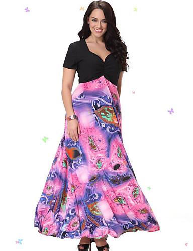 Beach Plus Size Dress,Print Patchwork V Neck Midi Short Sleeves Spandex Others Summer Micro-elastic Thin