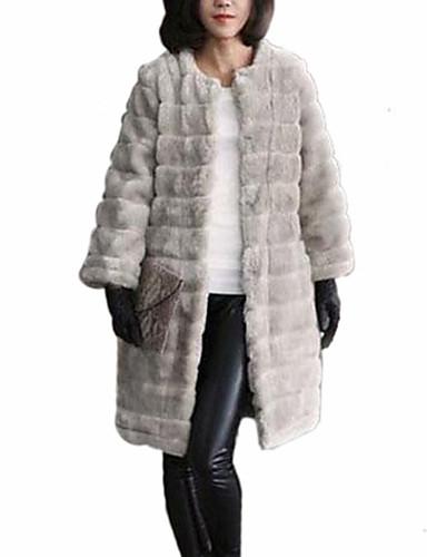 Женский На каждый день На выход Однотонный Пальто с мехомПростое Зима Длинный рукав,Искусственный мех