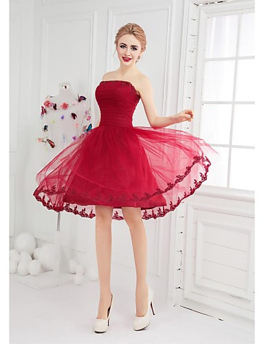 Ball Gown Fit & Flare Bateau Neck Short / Mini Tulle Cocktail Party Dress with Appliques by LAN TING Express