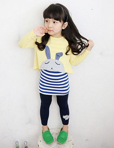 Djevojčice Pamuk Umjetna svila Dnevno Proljeće Jesen Dugih rukava Komplet odjeće Crtići Na prugice Sive boje Bijela
