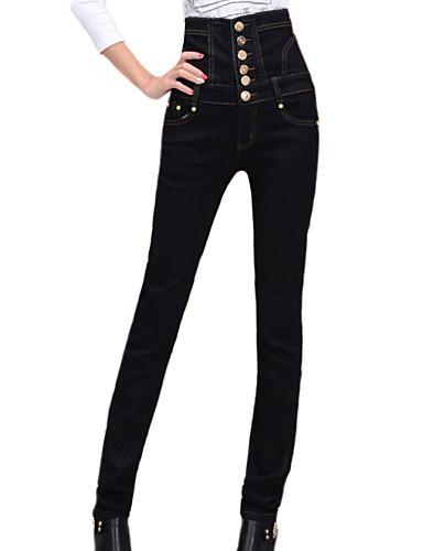 Calça de calças pretas pretas sólidas e de alta qualidade feminina, botão casual / trabalho