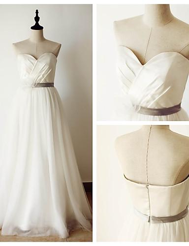 Linha A Vestido de Noiva Longo Coração Cetim / Tule com Cruzado / Faixa / Fita
