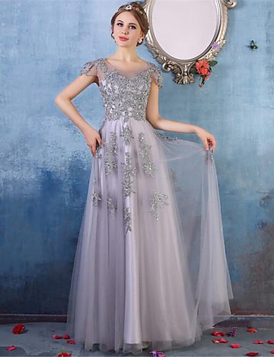 Prom formal vestido de noite - elegante uma linha-scoop assoalho-comprimento tulle com detalhe de cristal laço