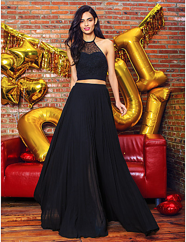 A-Line Illusion Neck Floor Length Chiffon / Lace Two Piece Cocktail Party / Prom / Formal Evening Dress with Lace by TS Couture®