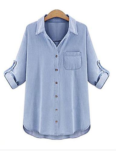 billige Dametopper-Skjortekrage Store størrelser Skjorte Dame - Ensfarget Grunnleggende Ferie Lyseblå