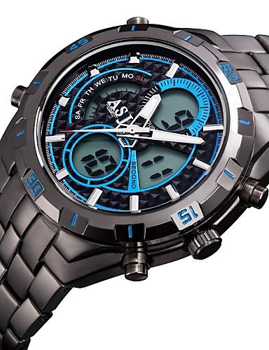 ASJ Herrn Armbanduhr Japanisch Alarm / Kalender / Chronograph Edelstahl Band Luxus Schwarz / Wasserdicht / LCD / Duale Zeitzonen / Zwei jahr / Maxell SR626SW + SEIKO CR2025