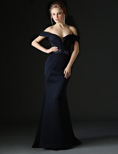 트럼펫 / 머메이드 오프 숄더 스윕 / 브러쉬 트레인 폴리에스테르 포멀 이브닝 드레스 와 비즈 허리끈/리본 으로 Huaxirenjiao