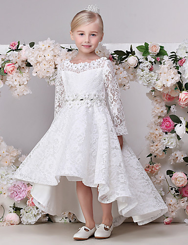 A-Linie Asymmetrisch Blumenmädchenkleid - Spitze Langarm Schmuck mit Spitze durch LAN TING BRIDE®