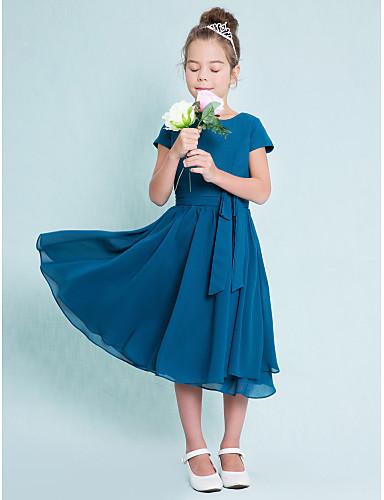 billige Bryllupsfestkjoler-A-linje Besmykket Telang Chiffon Junior brudepikekjole med Knapper av LAN TING BRIDE® / Naturlig