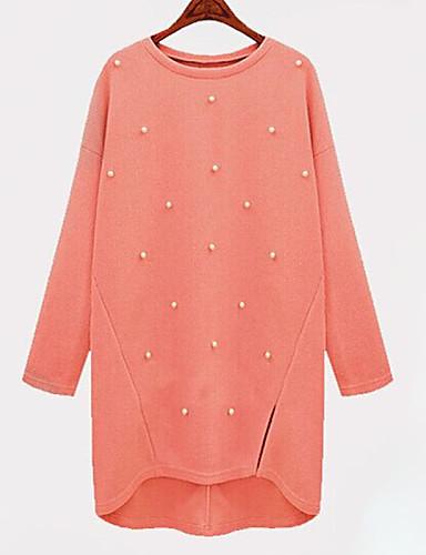 여성 니트웨어 드레스 플러스 사이즈 심플 솔리드,라운드 넥 무릎 위 긴 소매 아크릴 봄 중간 밑위