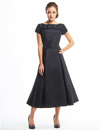 cheap Black Dresses-A-Line Boat Neck Tea Length Taffeta Little Black Dress Cocktail Party Dress with Buttons by TS Couture®