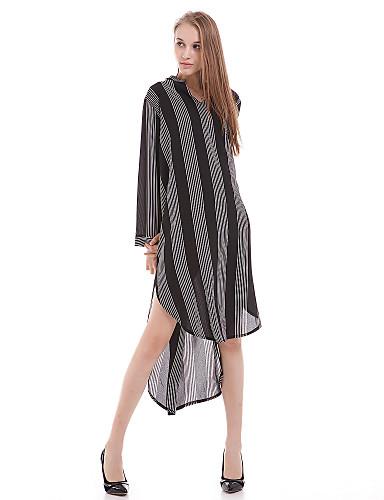 여성용 줄무늬 V 넥 할로우 아웃-셔츠,캐쥬얼